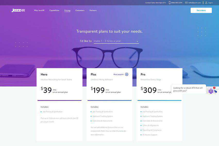 Jazz HR Pricing Page Web Design Inspiration