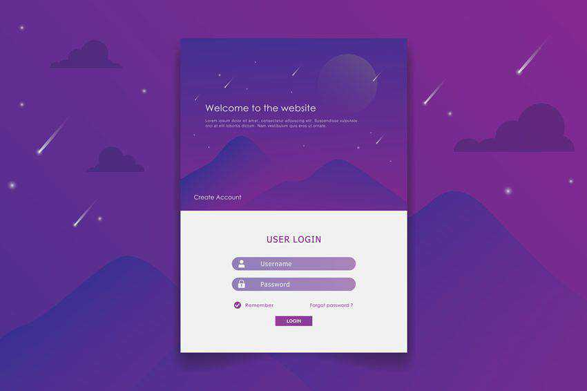 Purple Login form web design inspiration