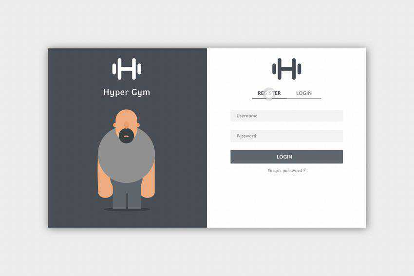 Gym App Login Register Form web design inspiration
