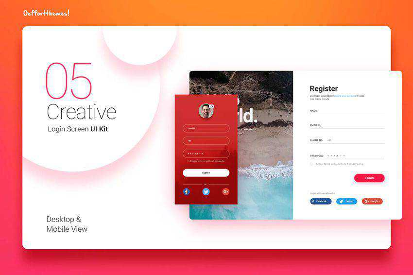 Login Screen UI Kit web design inspiration