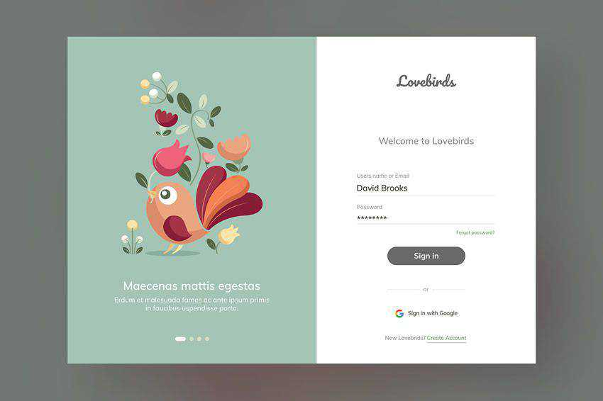 Illustrated Lovebirds Website Login web design inspiration