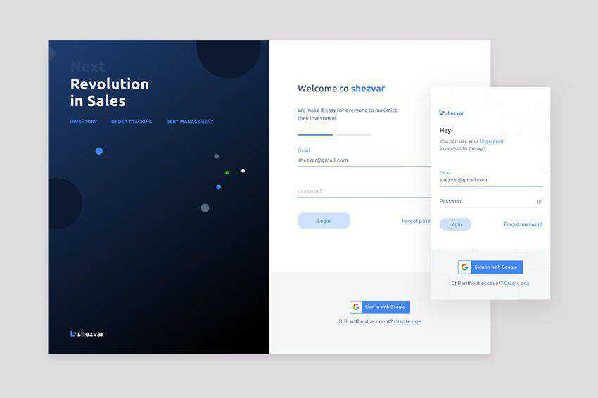 Login UI web design inspiration