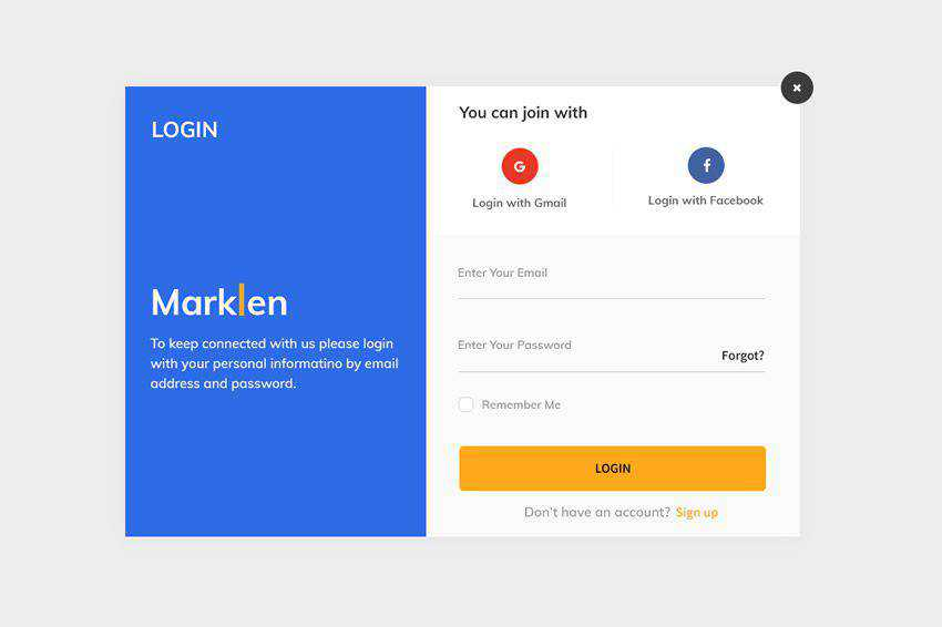 Marklen Login Screen web design inspiration