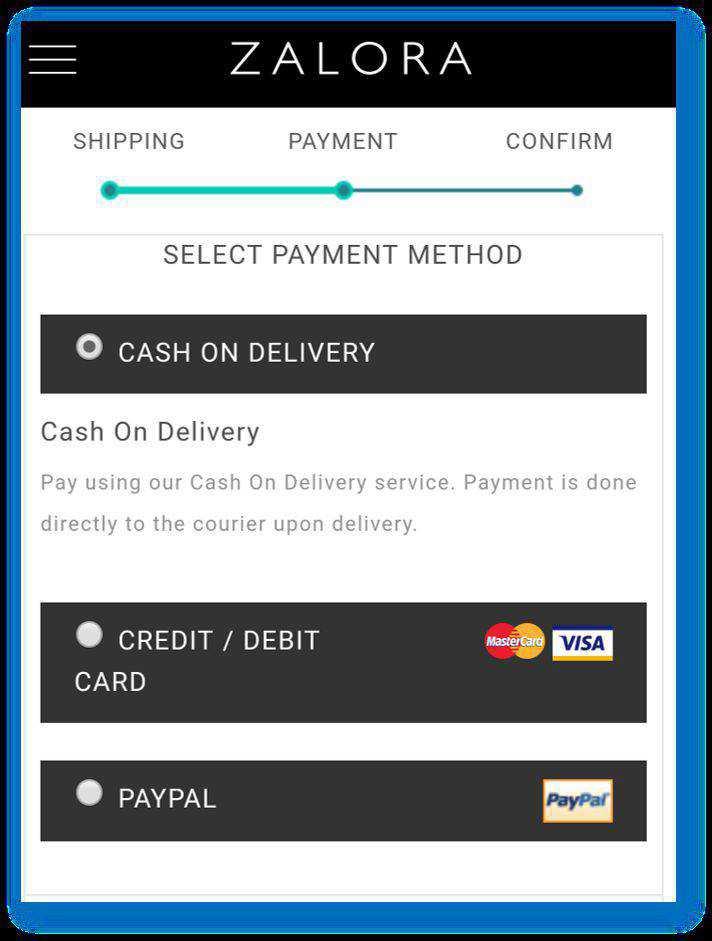 Zalora mobile checkout