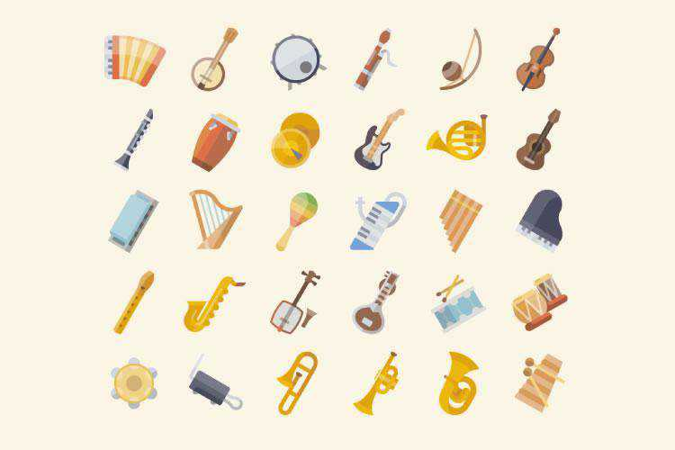 The Free Musical Instrument Icon Set in PNG & SVG Formats