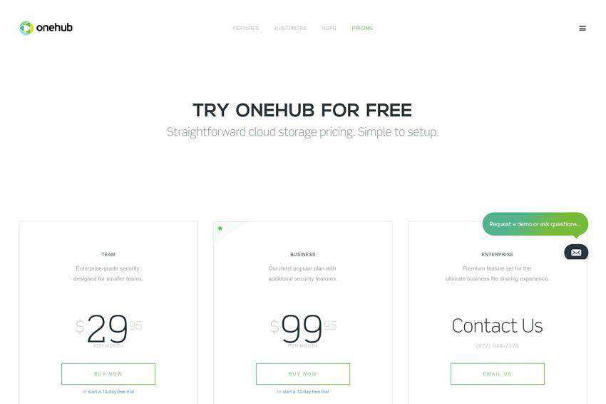 Onehub Pricing Page Web Design Inspiration