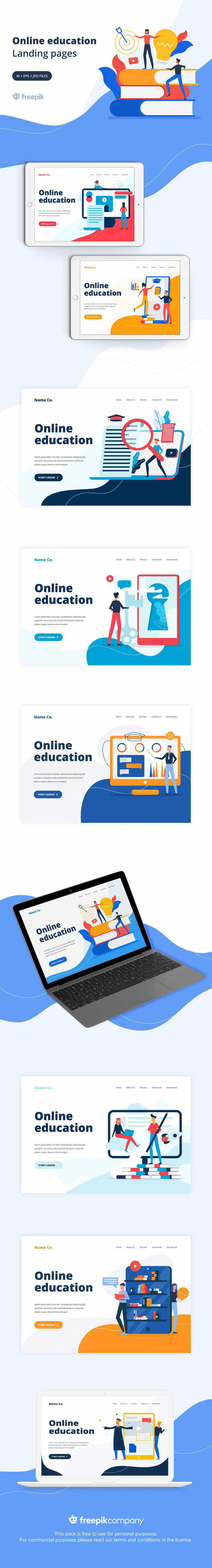 online education landing page template ai eps svg illustrator screenshot free freebie preview