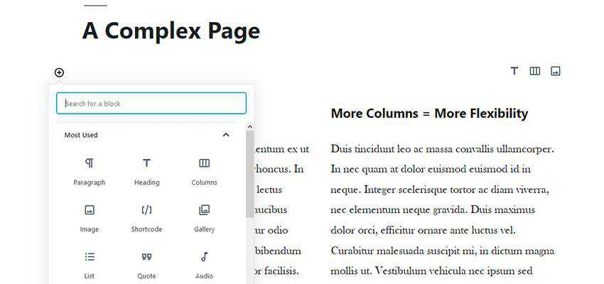 A multi column page layout in WordPress.