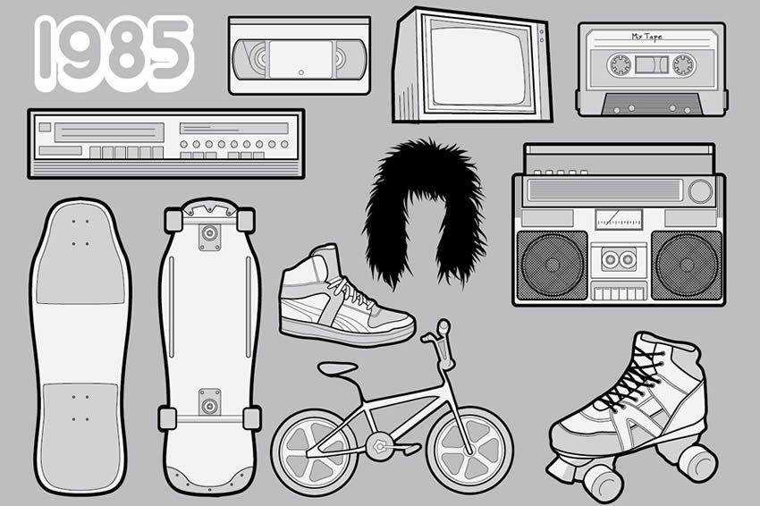 1985 Vector Pack 80s Icons free vector template illustrator ai eps vintage