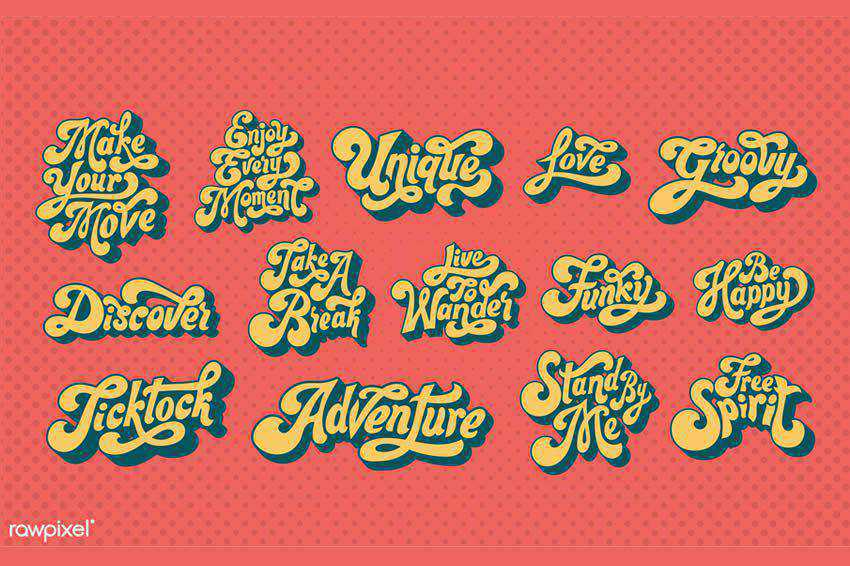 Motivational Typography Badges free vector template illustrator ai eps vintage