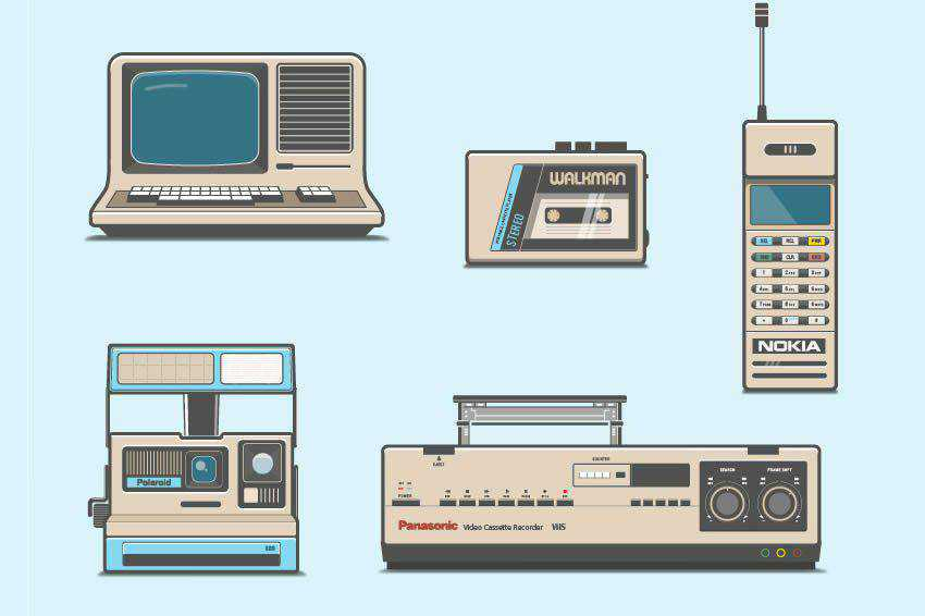 80s Electronics free vector template illustrator ai eps vintage