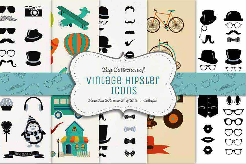 Collection Vintage Icons free vector template illustrator ai eps vintage