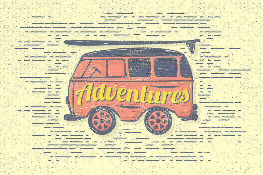Vintage Adventures Van Travel Illustration free vector template illustrator ai eps vintage