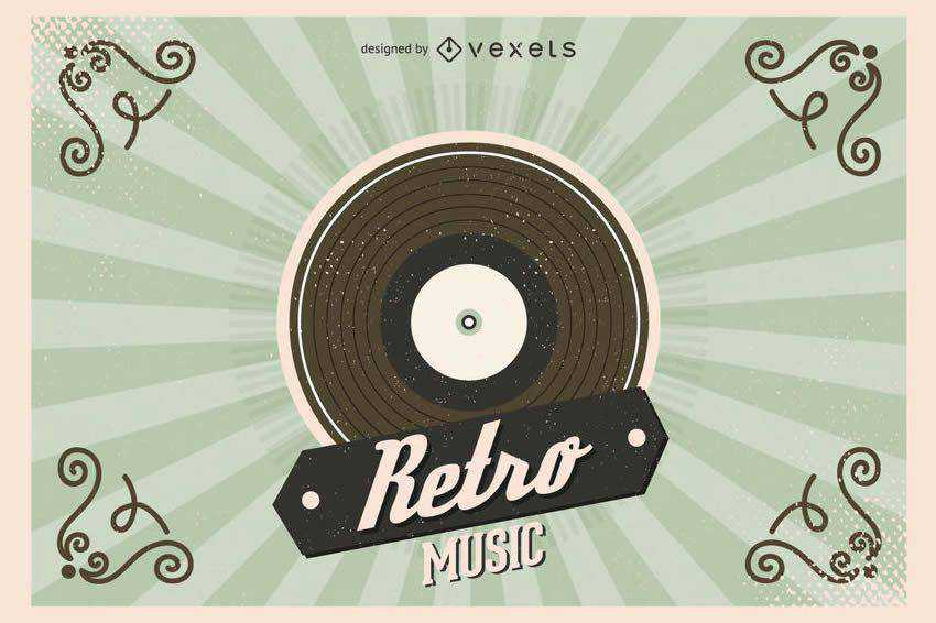 Retro Vinyl Record Illustration free vector template illustrator ai eps vintage