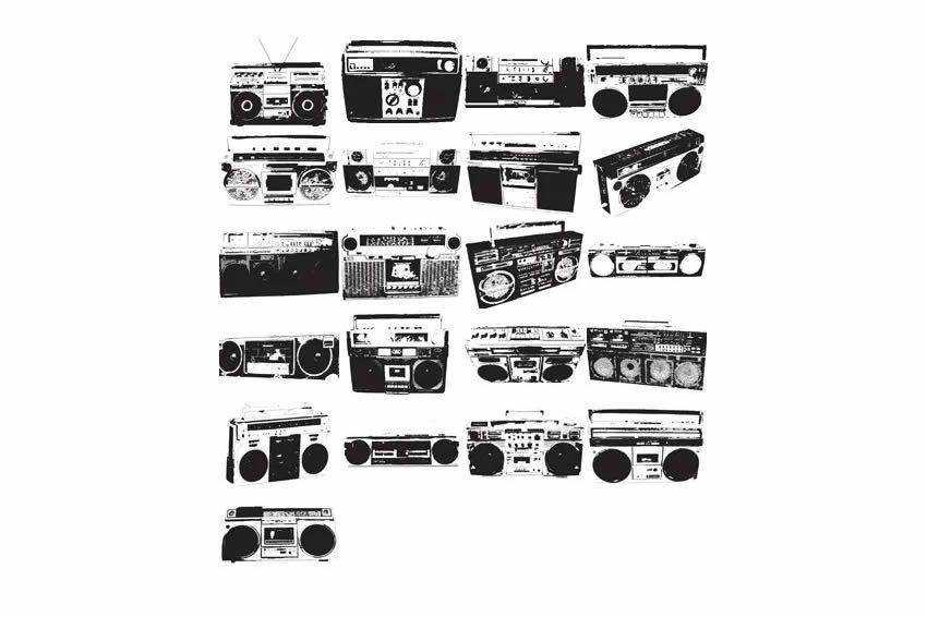 Boombox Templates free vector template illustrator ai eps vintage