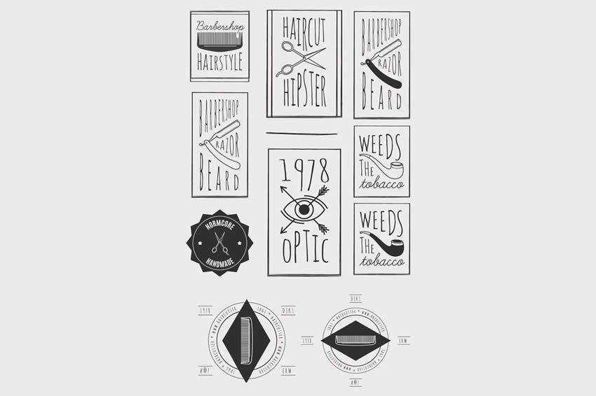 Trendy Retro Vintage Insignias Bundle free vector template illustrator ai eps vintage