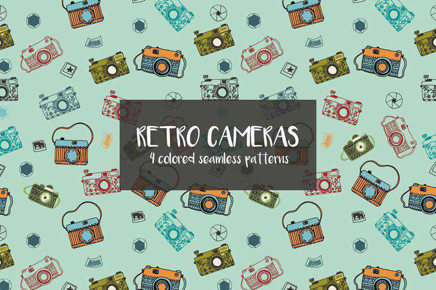 Retro Cameras Vector Seamless Pattern free template illustrator ai eps