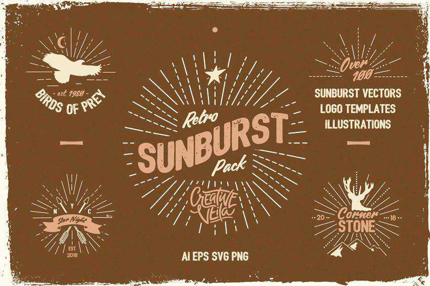 Sunburst Logo set free vector template illustrator ai eps vintage