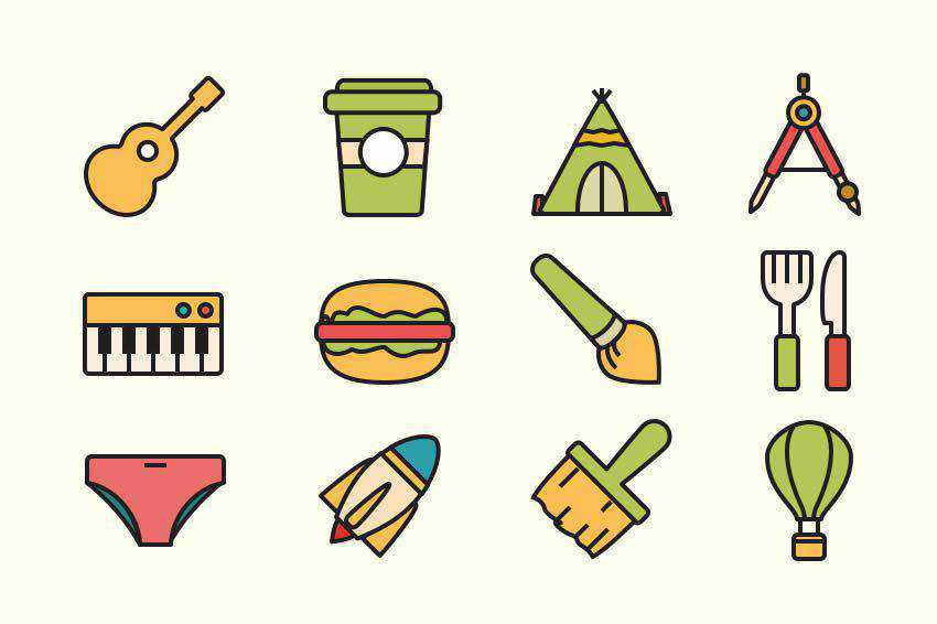Retro Vector Icon Set Templates free template illustrator ai eps