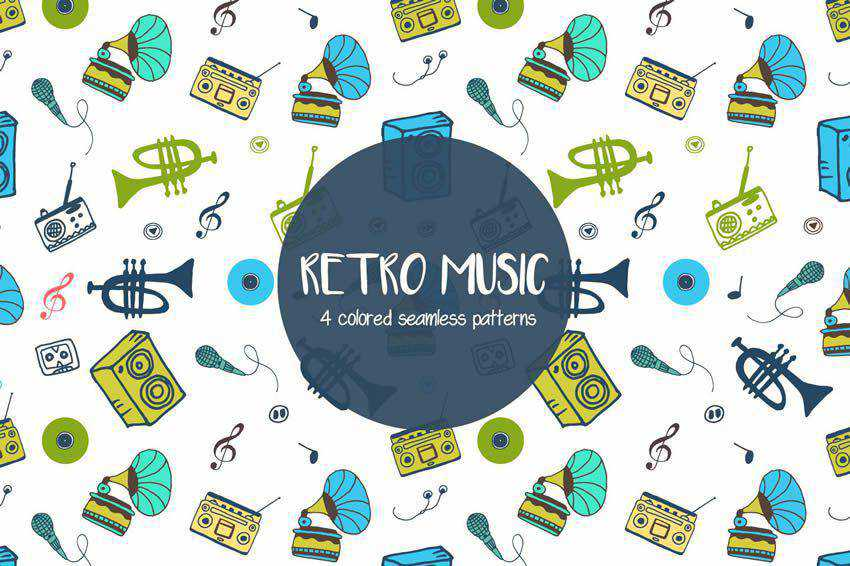 Retro Music Vector Seamless Pattern free template illustrator ai eps
