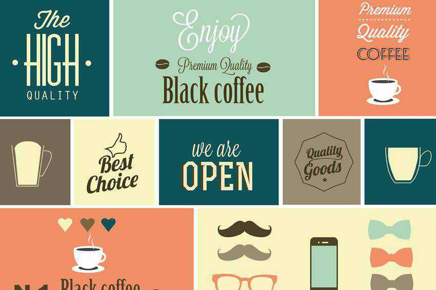 Coffee Logo Sign Design Elements free vector template illustrator ai eps vintage
