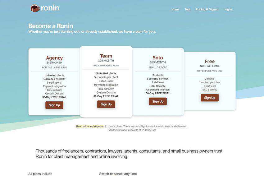 Ronin Pricing Page Web Design Inspiration
