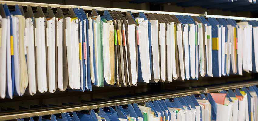 Hanging file folders.