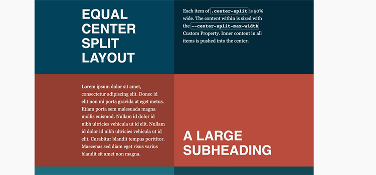 Create a split, faux-container layout with CSS Grid and Flexbox