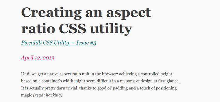 Creating an aspect ratio CSS utility