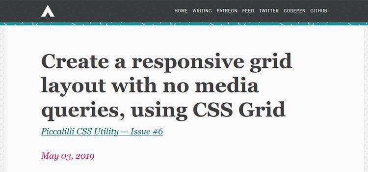 Create a responsive grid layout with no media queries, using CSS Grid