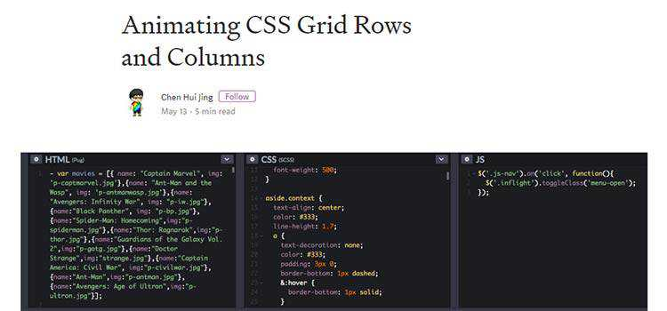 Animating CSS Grid Rows and Columns
