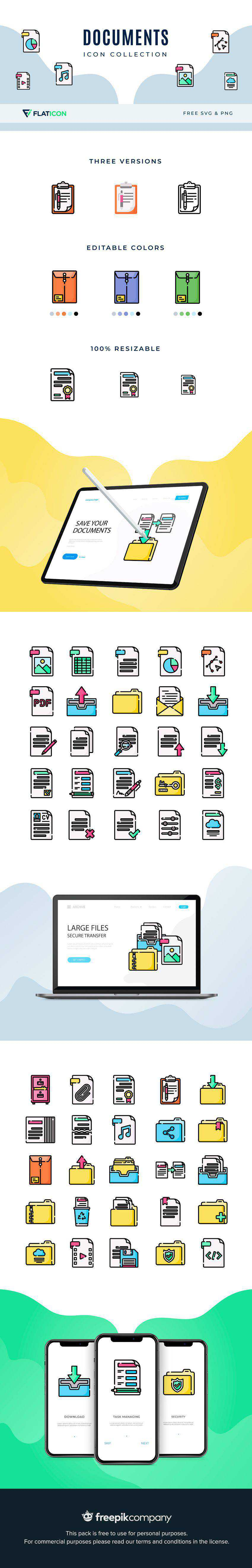 document office folder icon set collection pack png svg free freebie preview