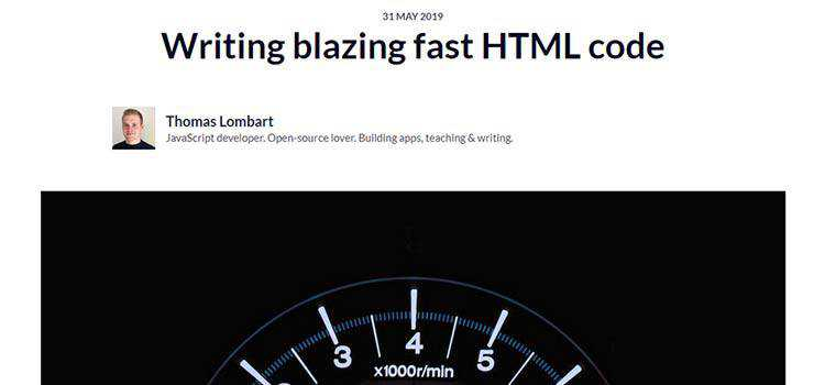 Writing blazing fast HTML code