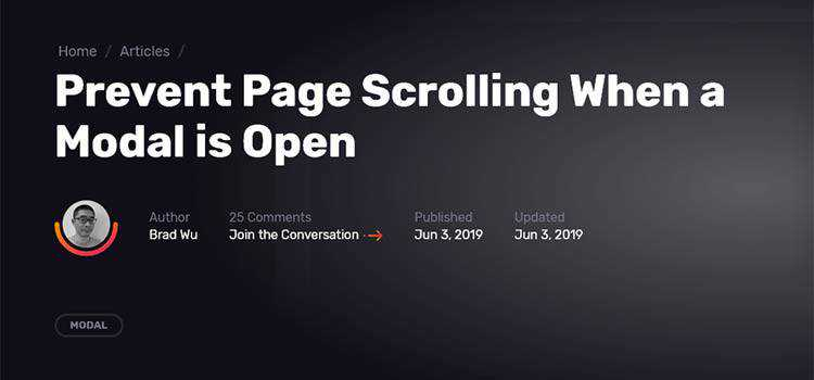 Prevent Page Scrolling When a Modal is Open