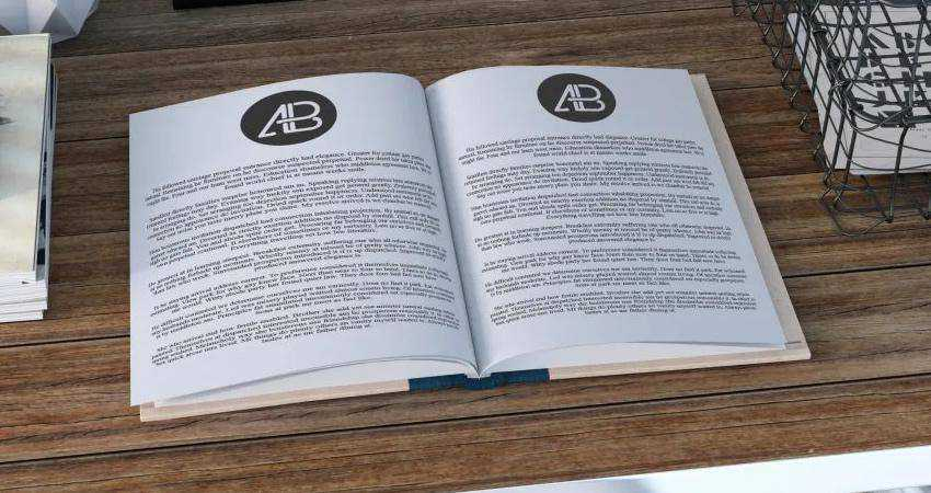 Free Realistic Open Book Mockup Photoshop PSD