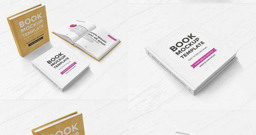 Free Hardcover Book Mockup Set Photoshop PSD