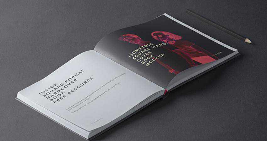 Free Square PSD Hardcover Book Mockup Photoshop PSD
