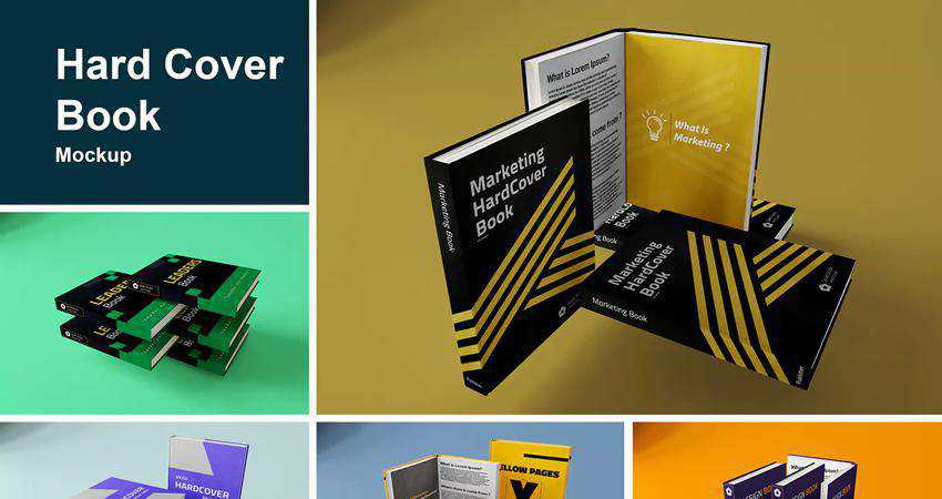 Hard Cover Book Mockup Photoshop PSD