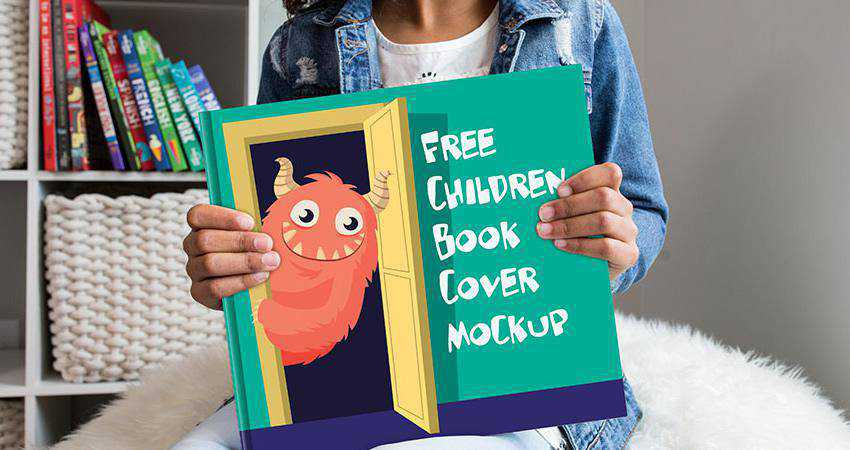 Free Children Book Cover Mockup Photoshop PSD
