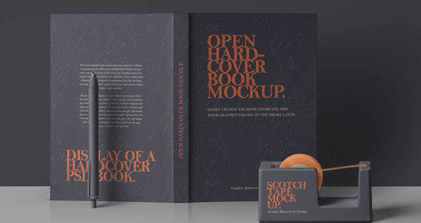 Free PSD Open Hardcover Book Mockup Photoshop PSD