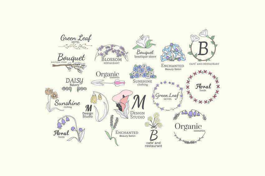 Floral Feminine Logo Vector Templates AI EPS