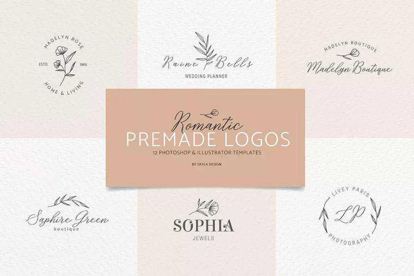 Romantic Feminine Premade Logos EPS PSD