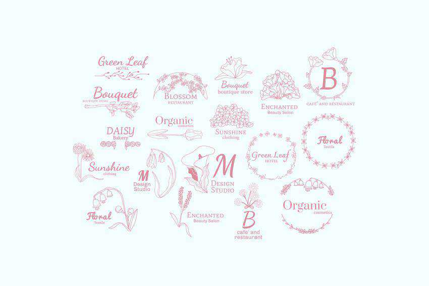 Floral Vector Logo Design Templates EPS