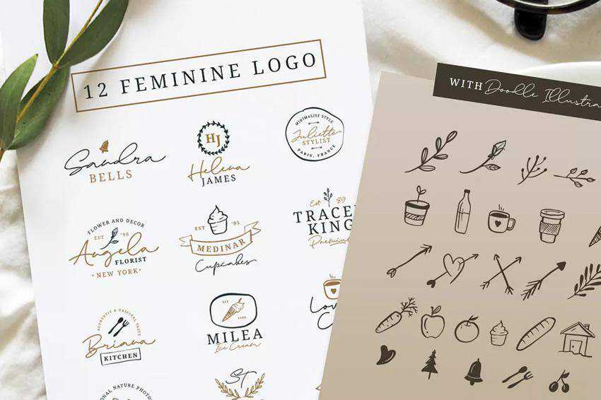 12 Feminine Logo Templates AI EPS