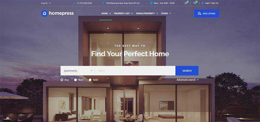 HomePress WordPress Theme home page example.