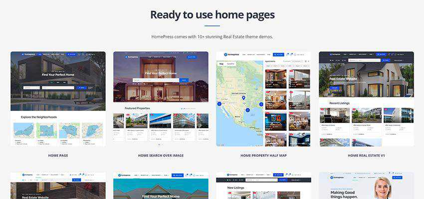 HomePress home page example layouts.
