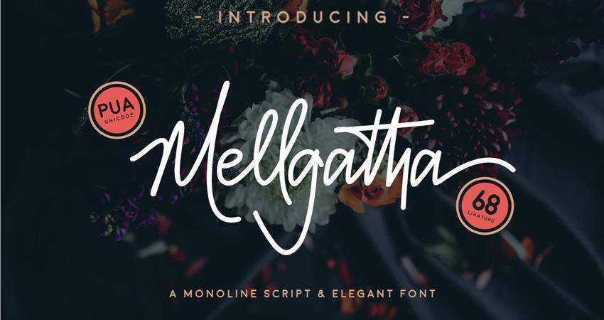 Free Mellgatha Monoline Script Font