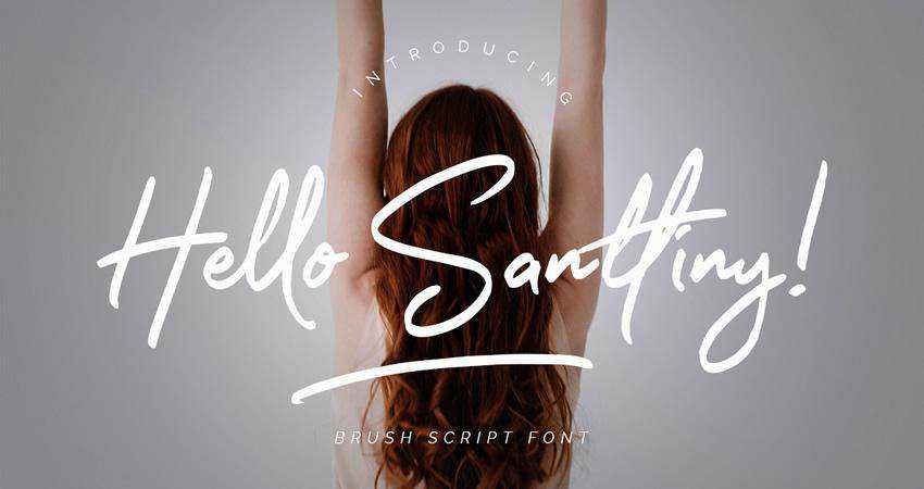 Free Hello Santtiny Brush Script Font