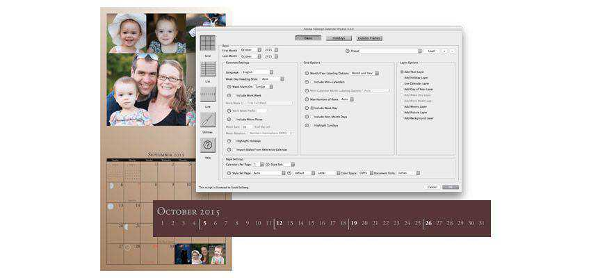 Calendar Wizard adobe indesign plugin