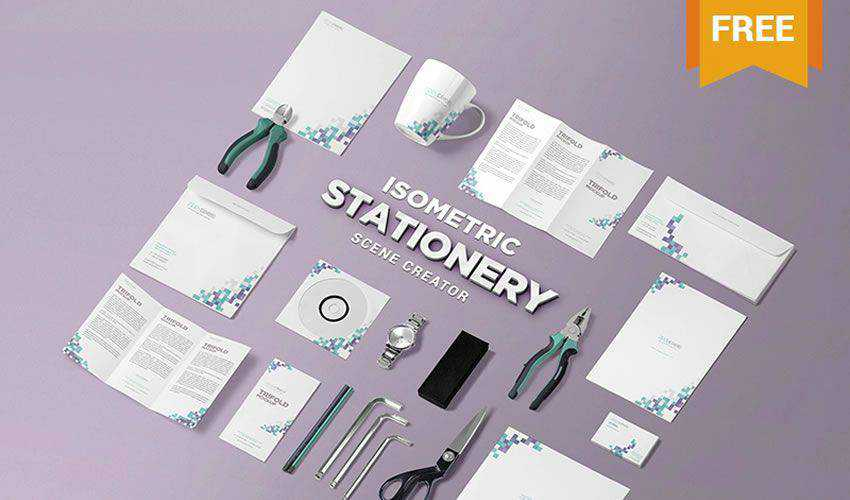Isometric Stationery PSD Scene Creator PSD Photoshop Free